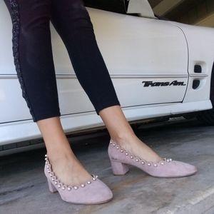 Light Pink Suede Kate Spade Heels Pearl Size 10/11